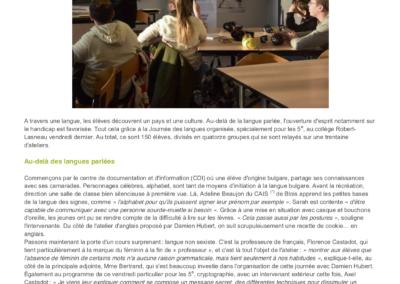 Article de presse nouvelle république - Journée des langues 2